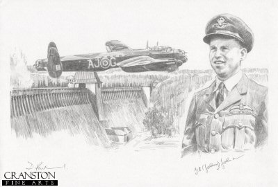 DP0209P. Tribute to the 617 Sqn Dambusters Crew of Lancaster AJ-G by David Pentland. <p> The image shows Lancaster AJ-G attacking the Mohne dam.  Alongside is the portrait of AJ-G pilot Wing Cdr G P Gibson.  The very first aircraft to attack the dams, AJ-G dropped its bomb short of the Mohne, but drew anti-aircraft fire away from the following Lancasters, before returning home safely<br><br><b>Crew of <i>G for George</i> :</b><br><br>Pilot : Wing Cdr G P Gibson<br>Flight Engineer : Sgt J Pulford<br>Navigator : Plt Off H T Taerum<br>Wireless Operator : Flt Lt R E G Hutchison<br>Bomb Aimer : Plt Off F M Spafford<br>Front Gunner : Flt Sgt G A Deering<br>Rear Gunner : Flt Lt R D Trevor-Roper. <b><p>Signed by Squadron Leader George L. Johnson DFM. <p>Original pencil drawing by David Pentland.  <p> Paper size 17 inches x 12 inches (43cm x 31cm)