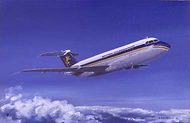 DP28. BAC111 (One Eleven) 1980s by David Pentland. <p> British Caledonian Airways BAC one-eleven over Aldergrove. <b><p> Signed limited edition of 500 prints.  <p>Image size 20 inches x 15 inches (51cm x 38cm)