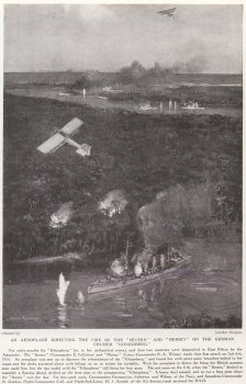 An Aeroplane Directing The Fire Of The Severn And Mersey On The German Cruiser Konigsberg.