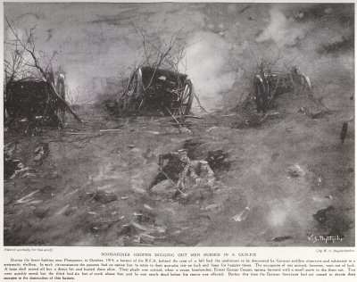 Bombardier Cooper Digging Out Men Buried In A Gun Pit.
