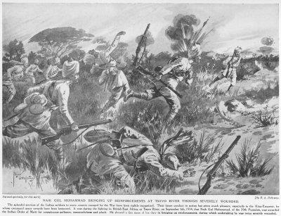 Naik Gul Muhammad Bringing Up Reinforcements At Tsavo River Though Severely Wounded.