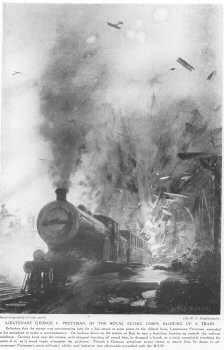 Lieutenant George F. Pretyman, Of The Royal Flying Corps, Blowing Up A Train.