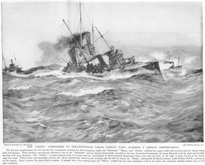 The Miura, Commanded By Sub-Lieutenant Leslie Kersley, R.N.R., Ramming A German Torpedo-Boat.