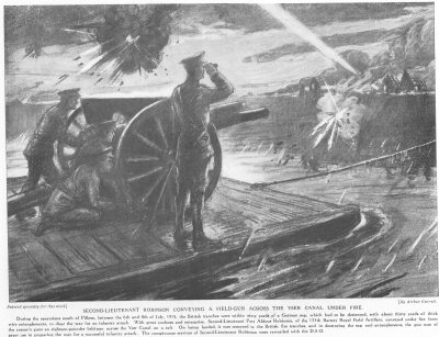 Second Lieutenant Robinson Conveying A Field Gun Across The YSER Canal Under Fire.