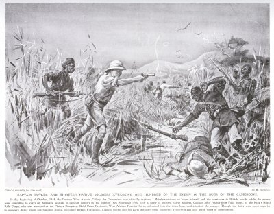 Captain Butler and Thirteen Native Soldiers Attacking One Hundred of the Enemy in the Bush of the Cameroons.