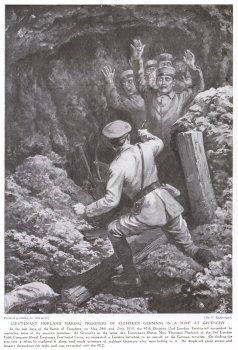 Lieutenant Morland Making Prisoners of Eighteen Germans in a Mine at Givenchy.
