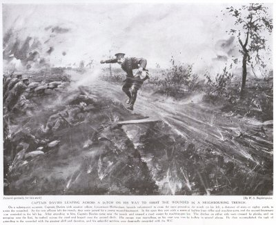 Captain Davies Leaping Across a Ditch on his Way to Assist the Wounded in a Neighbouring Trench.