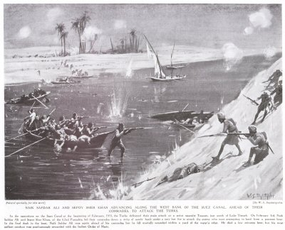Naik Safdar Ali And Sepoy Sher Khan Advancing Along The West Bank Of The Suez Canal, Ahead Of Their Comrades To Attack The Turks.