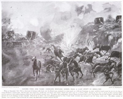 Gunner Pond And Three Comrades Rescuing Horses From A Lane Swept By Shell-Fire.
