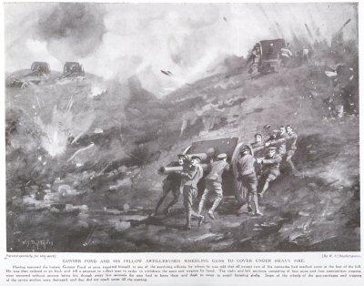 Gunner Pond And His Fellow Artillerymen Wheeling Guns To Cover Under Heavy Fire.