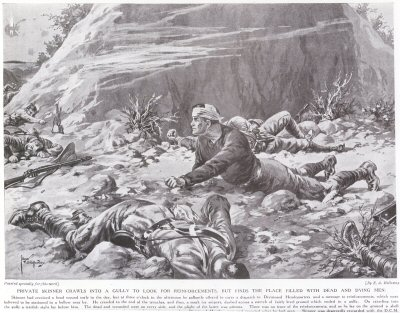 Private Skinner Crawls Into A Gully To Look For Reinforcements, But Finds The Place Filled With Dead & Dying Men.