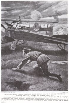 Second Lieutenant Vernon Crawling, Under Heavy Fire, To A German Aeroplane, Brought Down just Behind The British Front Line.