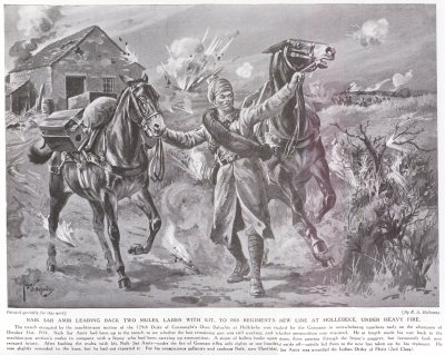 Naik Sar Amir Leading Back Two Mules Laden With Kit To His Regiments New Line At Hollebeke, Under Heavy Fire.