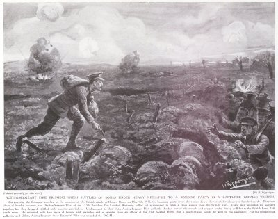 Acting Sergeant Pike Fresh Supplies of Bombs Under Heavy Shellfire To A Bombing Party In A Captured German Trench.