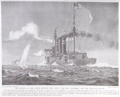 The Opening Of The Action Between The Kent And The Nurnberg Off The Falkalnd Islands.