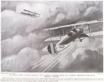 An Aerial Action In Which Corporal Nott. Acting As Gunner, Drove Off A Hostile Aeroplane After Being Seriously Wounded.