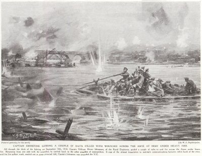 Captain Johnstone Guiding A Couple Of Rafts Filled With Wounded Across The Aisne At Missy Under Heavy fire.