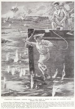 Midshipman Malleson Jumping With a Line From A Barge to Link up Another Barge Which Was Drifting.
