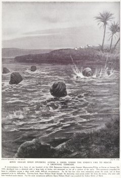 Sepoy Hukam Singh Swimming Across A Creek Under The Enemys Fire To Rescue A Drowning Comrade.