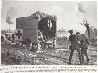 Sergeant Harvey Collecting The Wounded And Placing Them in an Ambulance Wagon Under Heavy Fire.