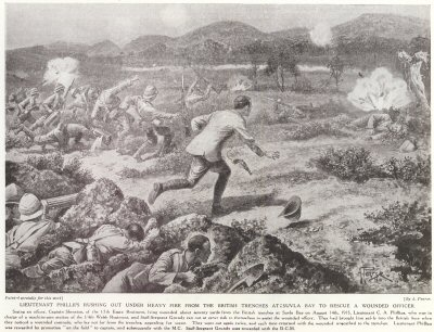 Lieutenant Philips Rushing Out Under Heavy Fire from The British Trenches At Suvla Bay To Rescue A Wounded Officer.