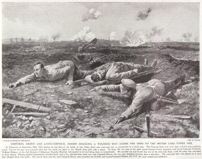 Corporal Brown And Lance-Corporal Dobson Dragging A Wounded Man Across The Open To The British Lines Under Fire.