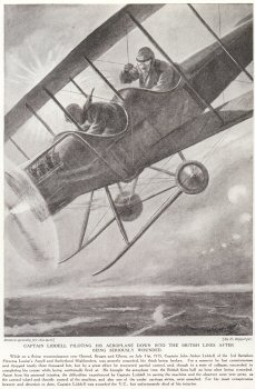 Captain Liddell Piloting His Aeroplane Down into The British Lines After Being Seriously Wounded.
