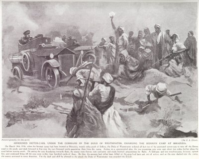 Armoured Motor cars, under the command of the Duke of Westminster, charging the Bedouin Camp at Birazizia.