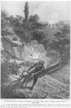 Second Corporal Daniell clearing a fallen tree from a road under heavy shellfire.