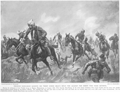 Jemadar Ram Karan leading his troop under heavy rifle fire against the enemy who were retiring.