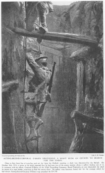 Acting Second Corporal OBrien Descending a shaft with an officer to search for the enemy.