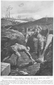 Lance Corporal Handley seizing a grenade, the fuse of which was nearly burnt, to hurl it over the parapet.