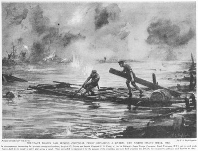 Sergeant Davies and Second Corporal Perry repairing a barrel pier under heavy shellfire.