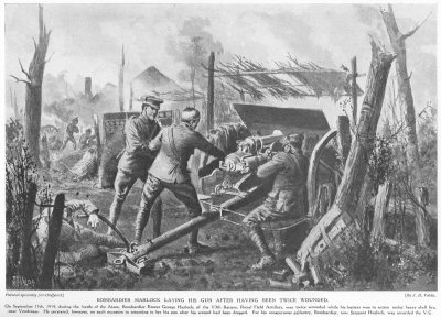 Bombardier Horlock laying his gun after having been twice wounded.