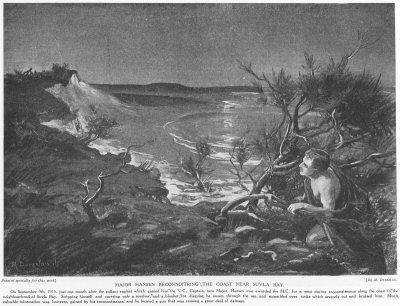 Major Hansen reconnoitring the coast near Suvla Bay.