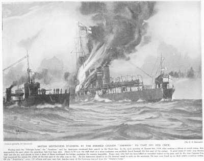 British Destroyers standing by the doomed cruiser Amphion to take off her crew.