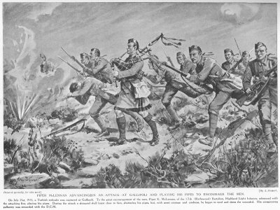Piper McLennan advancing in an attack at Gallipoli and playing his pipes to encourage the men.