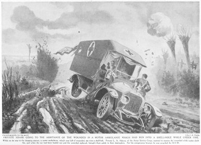 Private Adams going to the assistance of the wounded in a motor ambulance which had run into a shell hole while under fire.