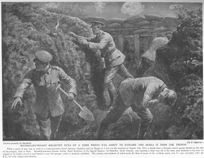 Second Lieutenant Rochfort picks up a bomb, which was about to explode, and hurls it from the trench.