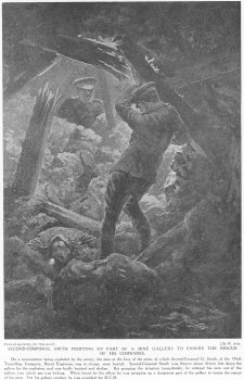 Second Corporal smith propping up part of a mine gallery to ensure the rescue of his comrades.