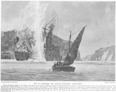 The B11 torpedoes the Turkish battleship Messoudieh.