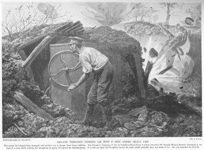 Private Torrance pumping air into a mine under heavy fire.