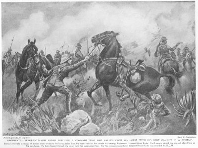 Regimental Sergeant Major Ryder rescuing a comrade who had fallen from his horse with his foot caught in a stirrup.