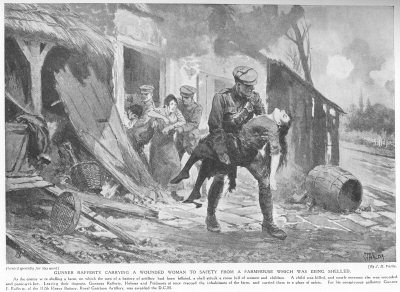 Gunner Rafferty carrying a wounded woman to safety from a farmhouse, which was being shelled.