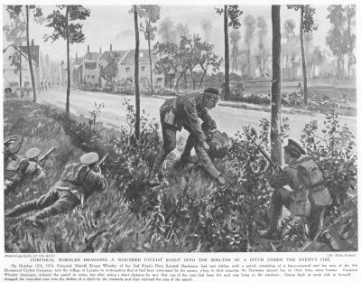 Corporal wheeler dragging a wounded cyclist scout into the shelter of a ditch under the enemys fire.