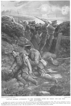 Captain Ranken attending to the wounded after his thigh and leg had been shattered.