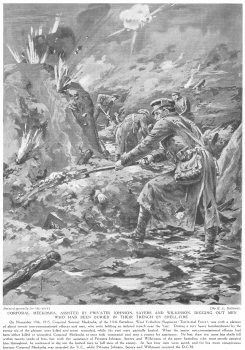 Corporal Meekosha, assisted by Privates Johnson, Sayers and Wilkinson, digging out men who had been buried in their trench by shellfire.