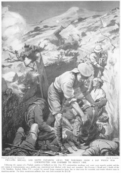 Privates Druall and Smith clearing away the wounded from a sap which was unprotected and exposed to heavy fire.
