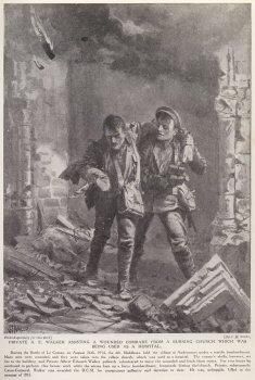 Private A. E. Walker Assisting A Wounded Comrade From A Burning Church, Which Was Being Used As A Hospital.