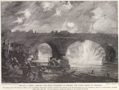 Private S. Heron Assisting The Royal Engineers to Destroy The Canal Bridge At Jemappes.